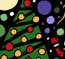 Colorful Santa and Penguin and Tree and Stars Abstract Sticker