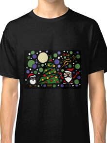 Colorful Santa and Penguin and Tree and Stars Abstract Classic T-Shirt