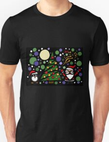 Colorful Santa and Penguin and Tree and Stars Abstract T-Shirt
