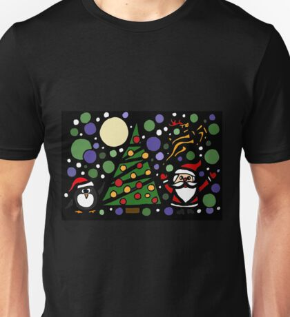 Colorful Santa and Penguin and Tree and Stars Abstract Unisex T-Shirt