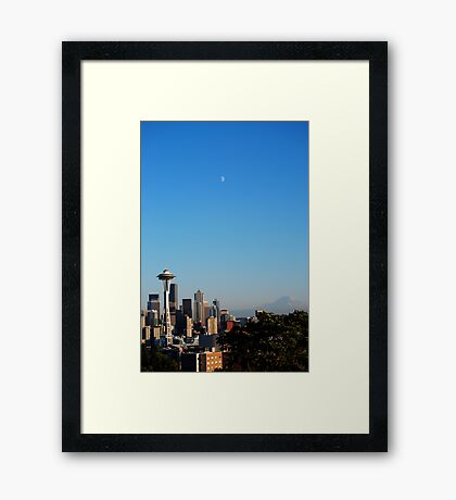 Space Needle's Moon Framed Print
