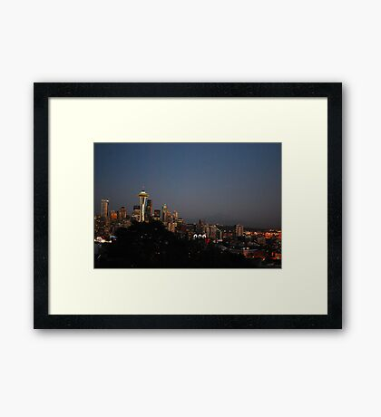 Seattle at Night Framed Print