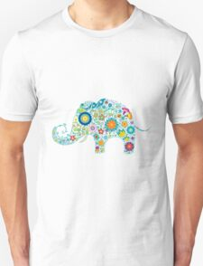 Retro Colorful Floral Elephant Illustration T-Shirt
