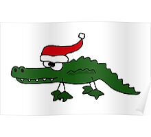 Funky Cool Green Alligator with Santa Hat Christmas Art Poster