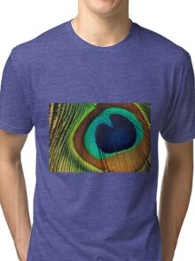 Peacock feathers background Tri-blend T-Shirt