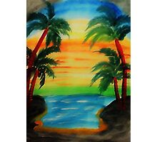 Sunset between 4 palm trees, watercolor Photographic Print