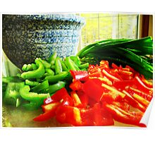 Peppers and Green Onions  Poster