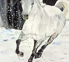 White Horse Dashing Through Snow by dorcas13