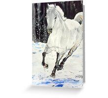 White Horse Dashing Through Snow Greeting Card