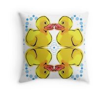 Rubber Duck Pattern With Bubbles Throw Pillow