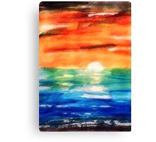 Dusk on the sea, watercolor Canvas Print