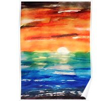 Dusk on the sea, watercolor Poster