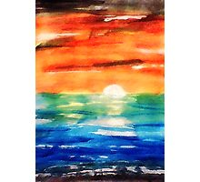 Dusk on the sea, watercolor Photographic Print