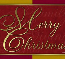 Red and Gold Christmas Card by William Martin