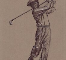 Ben Hogan - pencil drawing of the great golf master by Rebecca Rees