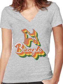 Retro Beagle Women's Fitted V-Neck T-Shirt