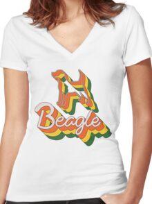 Retro Beagle Women's Fitted V-Neck T-Shirt