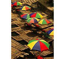 Umbrellas on the Li River, Guangxi, China Photographic Print