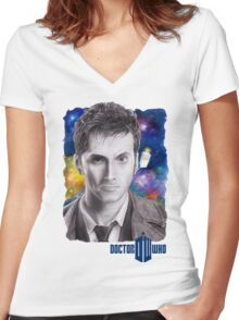Doctor Who No.10 - David Tennant 2 Women's Fitted V-Neck T-Shirt