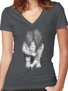 Alone... B/W Women's Fitted V-Neck T-Shirt