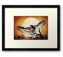 Eagle Owl And The Moon Framed Print