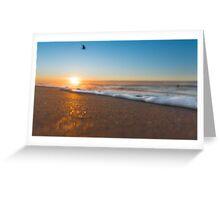 Wave on beach with bird Greeting Card