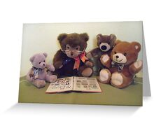 MR TEDDY SHOWS HIS NEPHEWS HIS STAMP COLLECTION Greeting Card