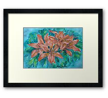 5 Lilies in  One,watercolor Framed Print
