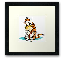Calvin and hobbes Hug in dream  Framed Print