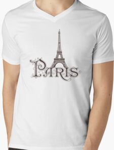 Paris France Eiffel Tower Mens V-Neck T-Shirt