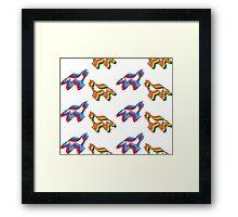 Retro Border Collie Pattern Framed Print
