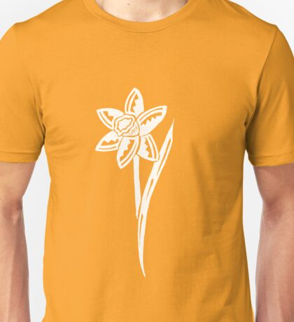 Daffodil Tribal Design - White Unisex T-Shirt