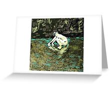 woman in silver water Greeting Card