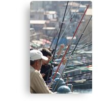 Fishing in town Canvas Print