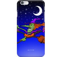Crazy Witch Riding her Broomstick iPhone Case/Skin