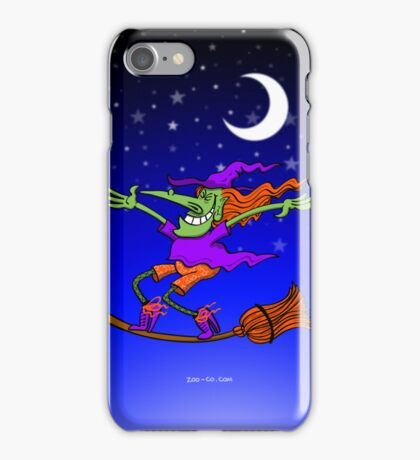 Crazy Witch Surfing on her Broom iPhone Case/Skin
