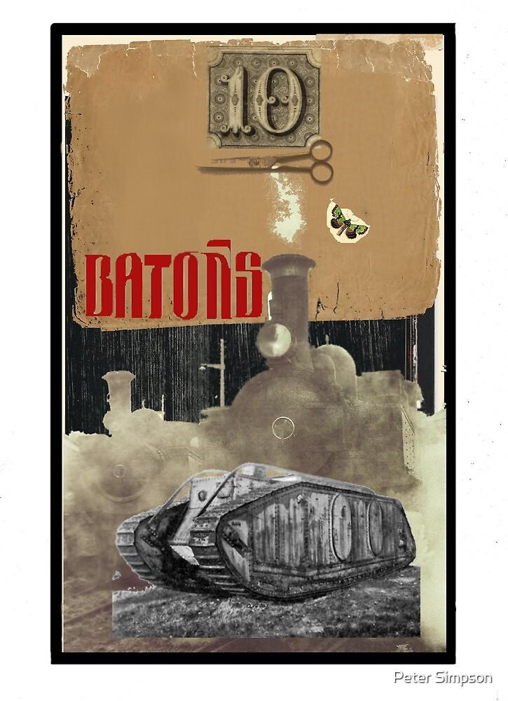 Dada Tarot- 10 of Batons by Peter Simpson