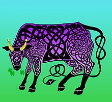 Purple Celtic Cow by ingridthecrafty
