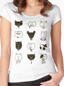 Set of cats heads.  Women's Fitted Scoop T-Shirt
