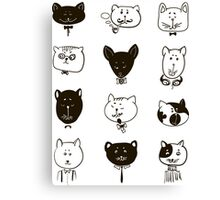 Set of cats heads.  Canvas Print