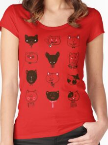 Set of cats heads Women's Fitted Scoop T-Shirt