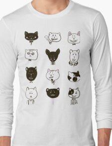 Set of cats heads Long Sleeve T-Shirt