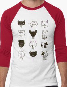 Set of cats heads Men's Baseball ¾ T-Shirt