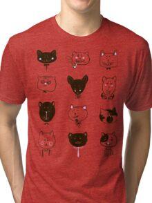 Set of cats heads Tri-blend T-Shirt