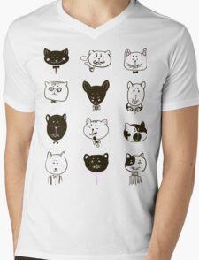 Set of cats heads Mens V-Neck T-Shirt