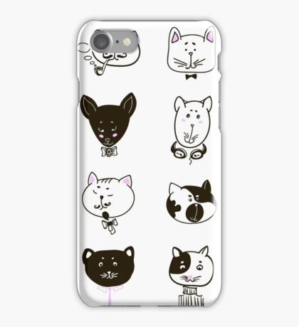Set of cats heads iPhone Case/Skin