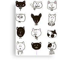 Set of cats heads Canvas Print
