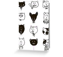 Set of cats heads Greeting Card