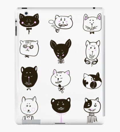 Set of cats heads iPad Case/Skin