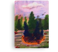 Nice fishing spot among the pines, watercolor Canvas Print